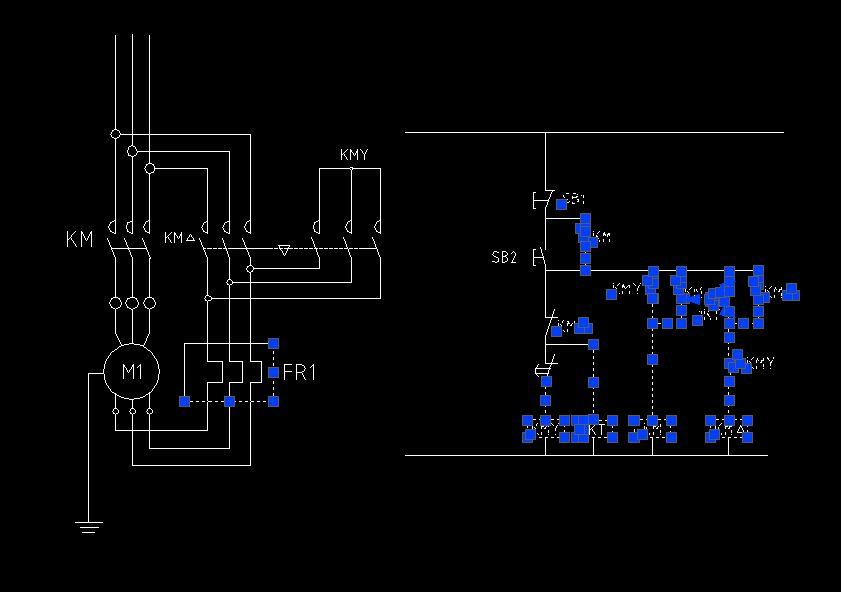 星角启动时的三个接触器之间的电路